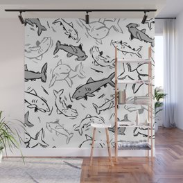 A Sea of Sharks Wall Mural