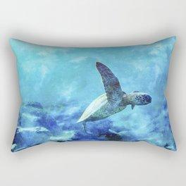 Sea Turtle Into The Deep Blue Rectangular Pillow