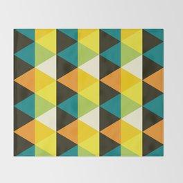 Geometric Pattern 60 (teal orange yellow triangles) Throw Blanket
