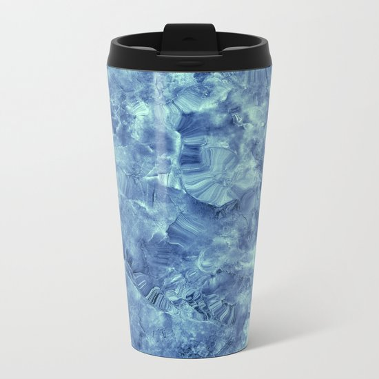 Blue onyx marble Metal Travel Mug