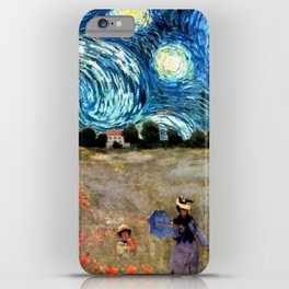 Monet's Poppies with Van Gogh's Starry Night Sky iPhone Case