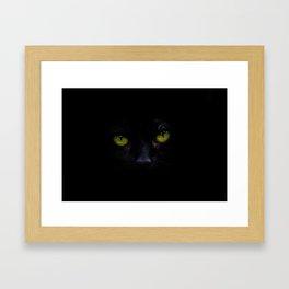Black Cat Green Eyes Face (Color) Framed Art Print