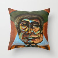 "louis armstrong Throw Pillows featuring Louis ""Pops"" Armstrong 