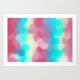 pink blue and yellow circle pattern abstract background Art Print