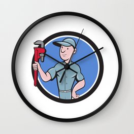 Handyman Monkey Wrench Circle Cartoon Wall Clock
