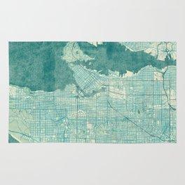 Vancouver Map Blue Vintage Rug