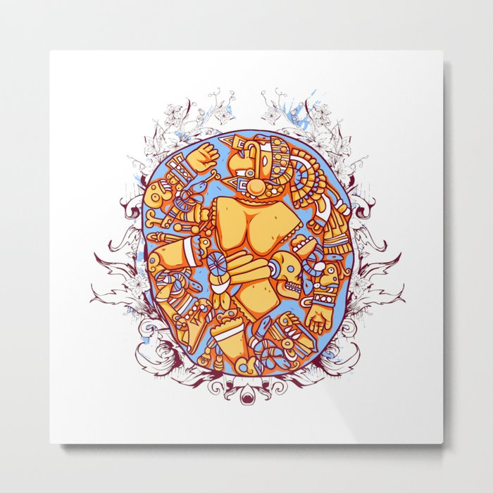 Inca design - Mayan Pinup Simbols Metal Print
