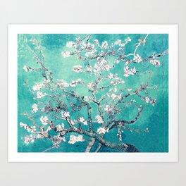 Vincent Van Gogh Almond Blossoms Turquoise Art Print
