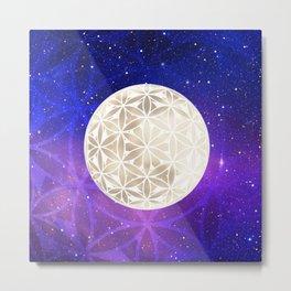 Flower of Life Moon 3 Metal Print