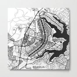 Brasilia Map Gray Metal Print