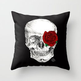 Rose Skull Black Throw Pillow