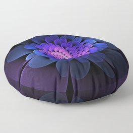 Spiraling Flower Fractal in Blue and Purple Floor Pillow