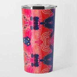Coral Pink Boho Travel Mug