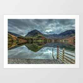 Fence and Reflections, Buttermere, Lake District. Art Print