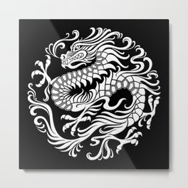 Traditional White and Black Chinese Dragon Circle Metal Print