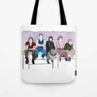 breakfast club Tote Bags featuring The Breakfast Club by DJayK