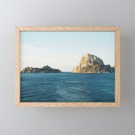 "Travel photography ""Es Vedra"" | Modern wall art Ibiza Spain iconic island white tones coast Framed Mini Art Print"