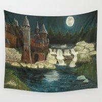 hogwarts Wall Tapestries featuring Hogwarts Moonlight by AnaMariaArt04