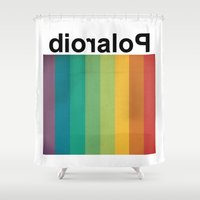 polaroid Shower Curtains featuring POLAROID by WordsnStripes