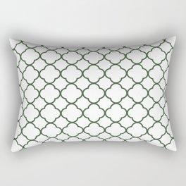 Green, Pine: Quatrefoil Clover Pattern Rectangular Pillow