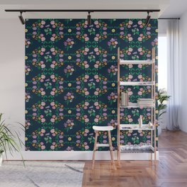 Floral garden Repeat Pattern Illustrated Print Wall Mural