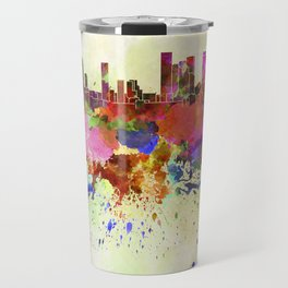 Tel Aviv skyline in watercolor background Travel Mug