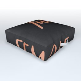 The Future is Female Pink Rose Gold on Black Outdoor Floor Cushion