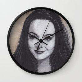 Original Charcoal Drawing of Morticia Addams Wall Clock