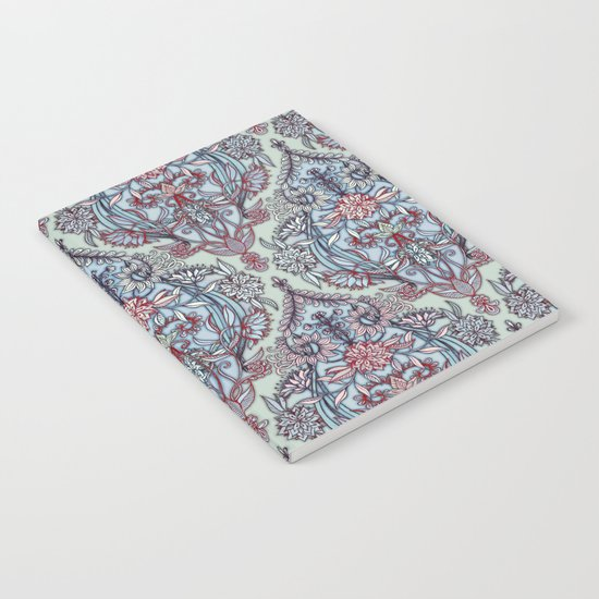 Botanical Moroccan Doodle Pattern in Navy Blue, Red & Grey Notebook