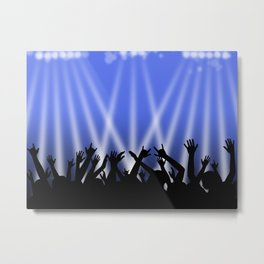 Dancing Crowd With Blue and White Lights Metal Print