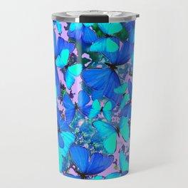 Blue Butterflies Pink Melange Art Travel Mug