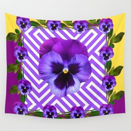 ABSTRACT YELLOW  CONTEMPORARY LILAC PURPLE PANSIES Wall Tapestry