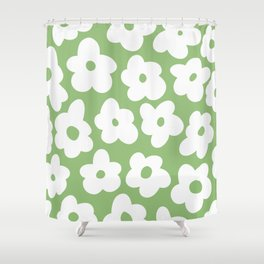 Psychedelic Sage Green 60's Flowers Shower Curtain