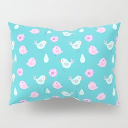 Abstract cute neon pink teal bird floral pattern Pillow Sham