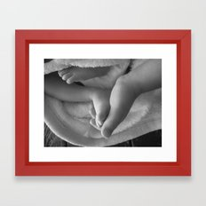 Siblings First Touch Framed Art Print