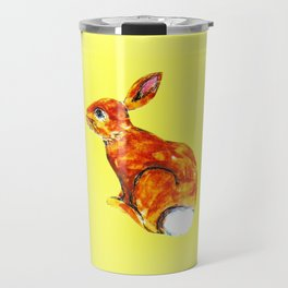 Rabbit on yellow Travel Mug