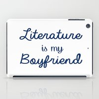 literature iPad Cases featuring literature is my boyfriend blue by Beautiful Bibliophile's Boutique