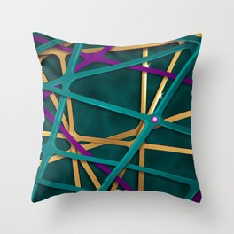 Cool Abstract Teal Futuristic 3D Background Throw Pillow