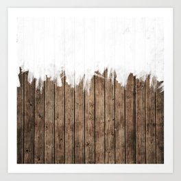 White Abstract Paint on Brown Rustic Striped Wood Art Print