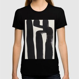 Mid Century Modern Minimalist Abstract Art Brush Strokes Black & White Ink Art Ancient Stripes T-shirt