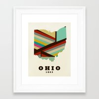 ohio state Framed Art Prints featuring Ohio state map modern by bri.buckley