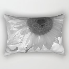 Sunflower Black and White Rectangular Pillow