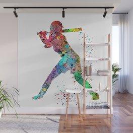 Baseball Softball Player Sports Art Print Watercolor Print Girl's softball Wall Mural