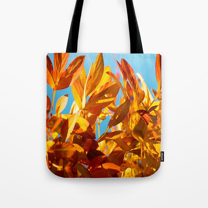 Autumn colors leaves against the blue sky #decor #society6 Tote Bag