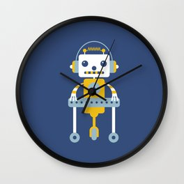 Little Robot illustration Wall Clock