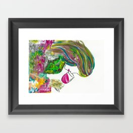 Lady with a wine glasss Framed Art Print