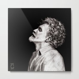 Sad man, black white Metal Print