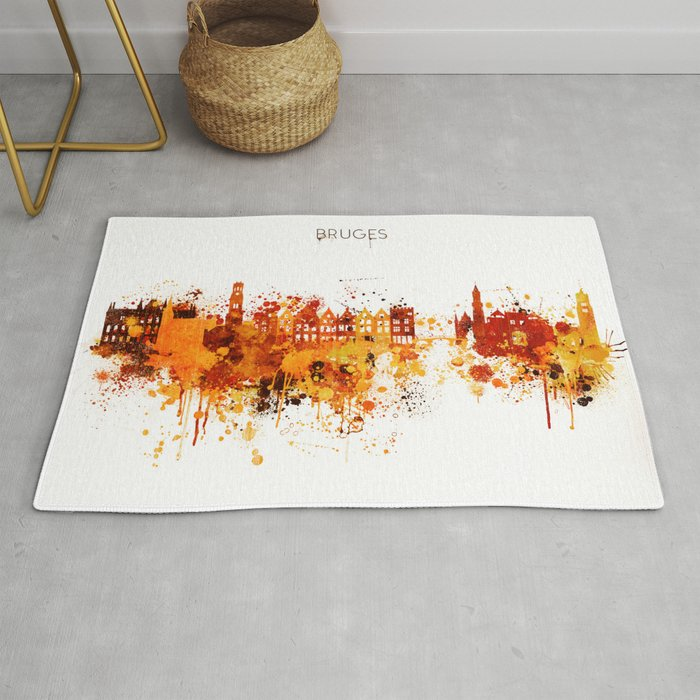 Bruges Belgium Red Yellow Skyline Rug