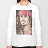 jack sparrow Long Sleeve T-shirts featuring Captain Jack Sparrow by JadeJonesArt