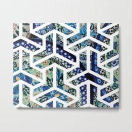 Ornate Decorative Plates Geometric Pattern Design Metal Print